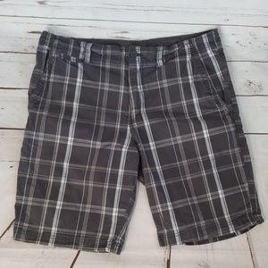 Faded Glory Gray/white plaid shorts